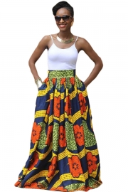 Colorful Floral African Print Navy Maxi Skirt