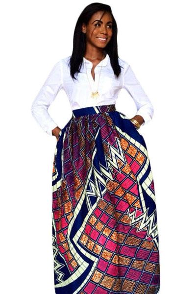 Stylish Diagram Block African Print Maxi Skirt