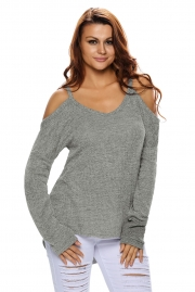 Gray Cold Shoulder Knit Long Sleeves Sweater