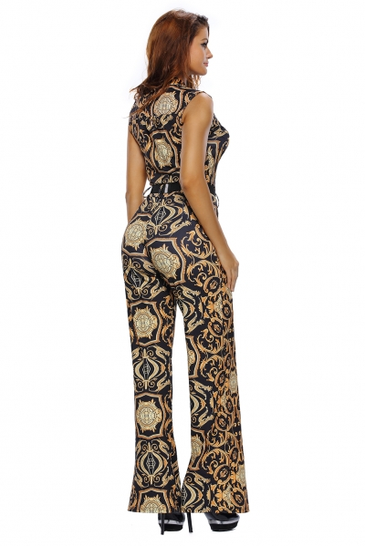 Black Yellow Tapestry Print Belted Jumpsuit zekela.com