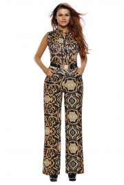 Black Yellow Tapestry Print Belted Jumpsuit