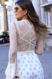 White Sheer Lace Tie-Front Crop Top