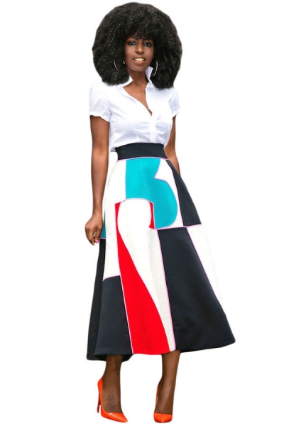 Irregular Colorblock Print High Waist Maxi Skirt