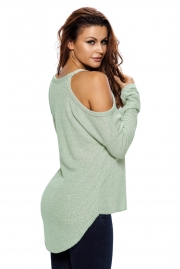 Light Green Cold Shoulder Knit Long Sleeves Sweater
