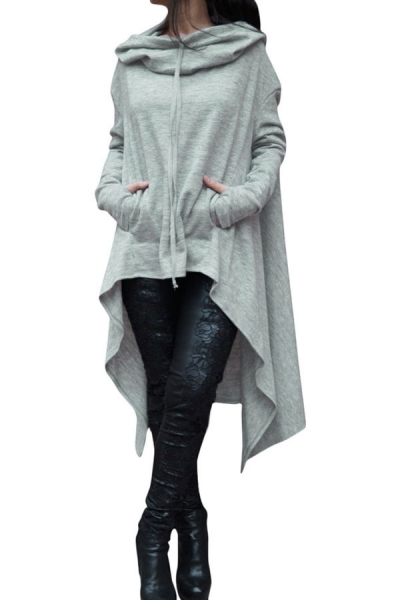 Grey Plain Drawstring Irregular Oversize Hoodie