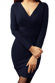 Navy Cross Wrapped V Neck Long Sleeve Ribbed Knitted Dress