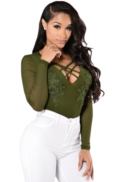 Green Floral Applique Front Long Sleeve Mesh Bodysuit