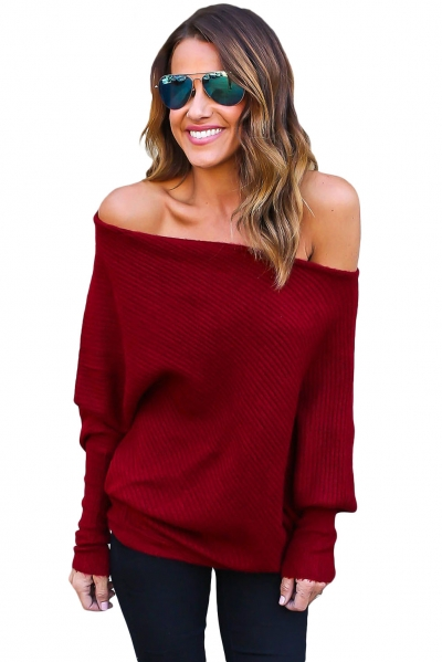 Red Off Shoulder Bat Long Sleeves Loose Fit Sweater