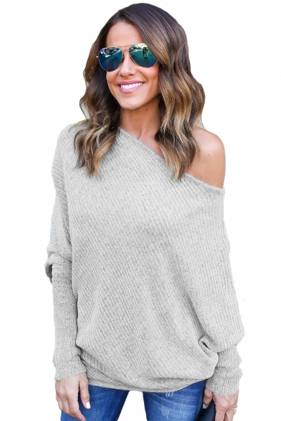 Gray Off Shoulder Bat Long Sleeves Loose Fit Sweater