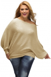 Khaki Off Shoulder Bat Long Sleeves Loose Fit Sweater