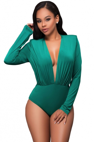 Emerald Green Long Sleeve Plunging V Neck Bodysuit
