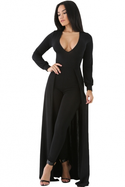 Black Maxi Skirt Overlay Elegant Party Jumpsuit