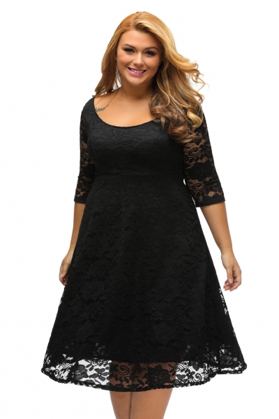 Black Floral Lace Sleeved Fit and Flare Curvy Dress zekela.com