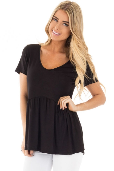 Black Sweetheart Neckline Babydoll Style T-shirt