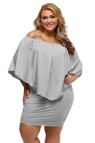 Plus Size Multiple Dressing Layered Grey Mini Dress
