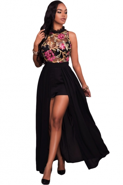 Black Sheer Mesh Embroidery Chiffon Romper Maxi Dress zekela.com