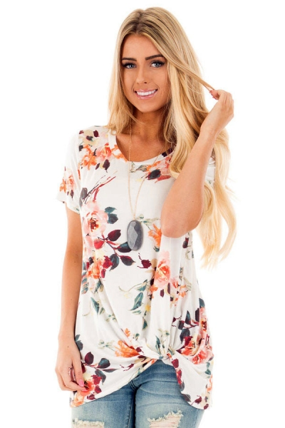 White Floral Short Sleeve Knot Top ZEKELA.com