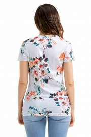 White Floral Short Sleeve Knot Top
