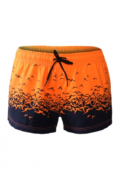 Orange Sea Gull Printed Women Swim Shorts