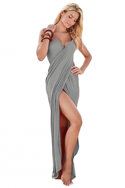 Grey Greek Goddess Spaghetti Strap Sarong Beachwear