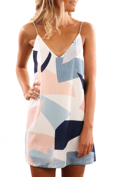 Color Block Geometric Print Short Dress