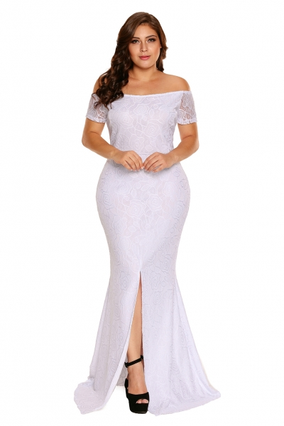 White Plus Size Off Shoulder Lace Gown zekela.com