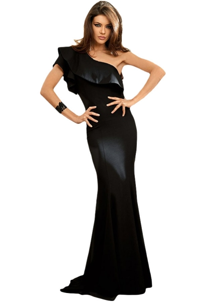 Black Ruffle One Shoulder Elegant Mermaid Dress
