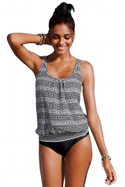Monochrome Beach Ethnic Print 2pcs Tankini Swimsuit