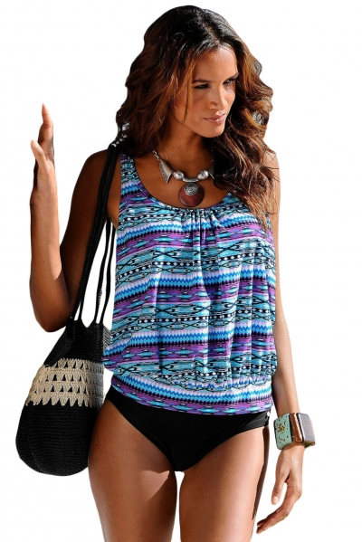 Tribal Beach Ethnic Print 2pcs Tankini Swimsuit
