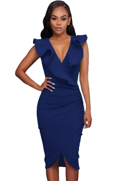 Blue Ruffle V Neck Bodycon Midi Dress