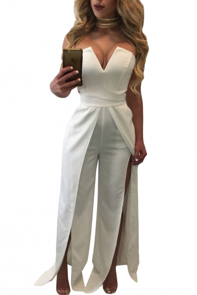 White Wide Slit Legs Jumpsuit