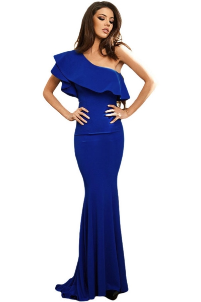 Royal Blue Ruffle One Shoulder Elegant Mermaid Dress