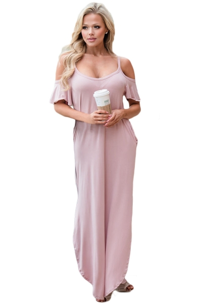Pink Sassy Open Shoulder Maxi Dress