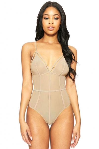 Bare Strappy Caged Triangular Bodysuit