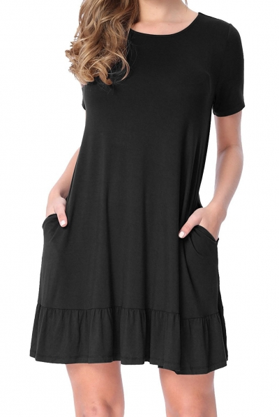 Black Short Sleeve Draped Hemline Casual Shirt Dress