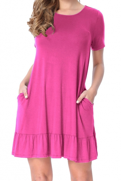 Rosy Short Sleeve Draped Hemline Casual Shirt Dress