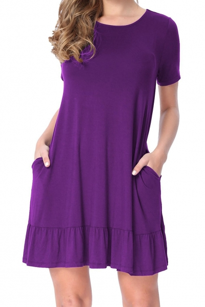 Purple Short Sleeve Draped Hemline Casual Shirt Dress