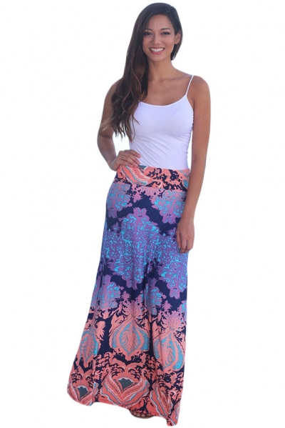 Orange Plant Printed Maxi Skirt