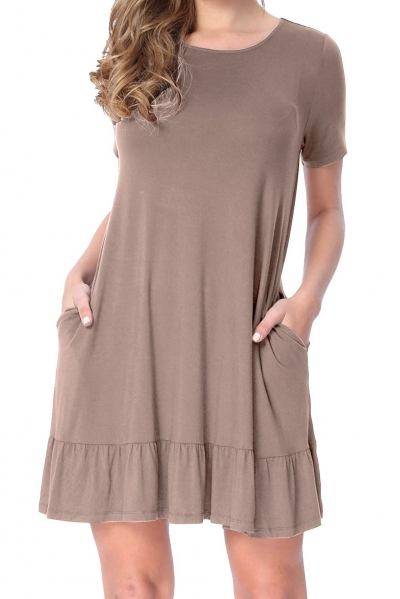 Brown Short Sleeve Draped Hemline Casual Shirt Dress