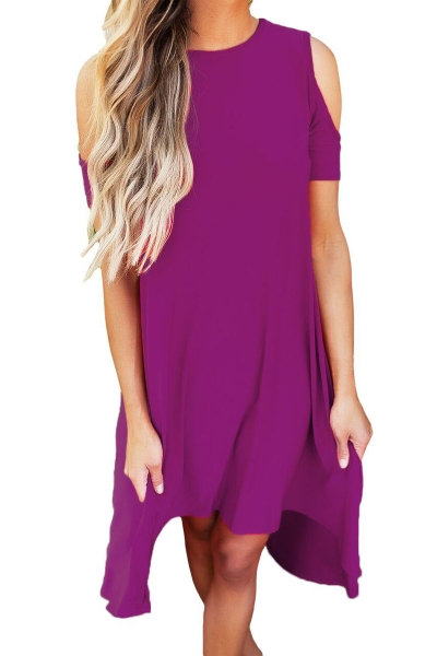 Purple Cold Shoulder Short Sleeve High Low Dress