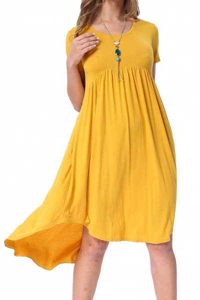 Yellow Short Sleeve High Low Pleated Casual Swing Dress