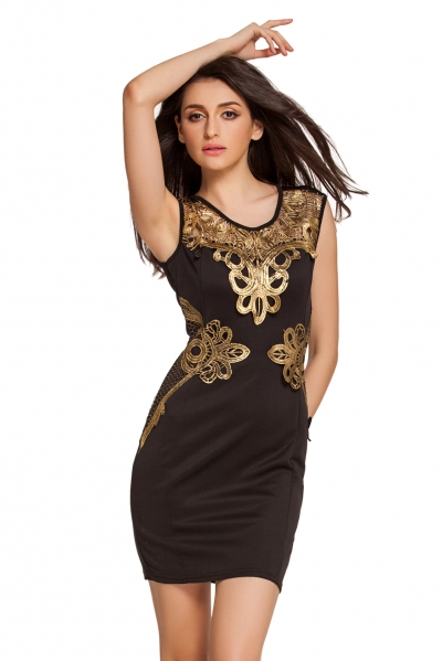 Sexy Sleeveless Foiled Applique Detail Black Shift Dress