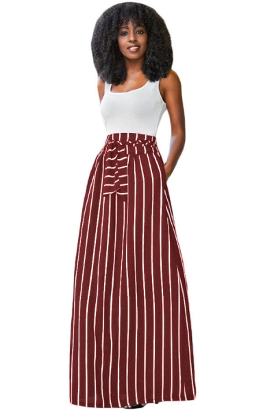Burgundy Striped Maxi Skirt