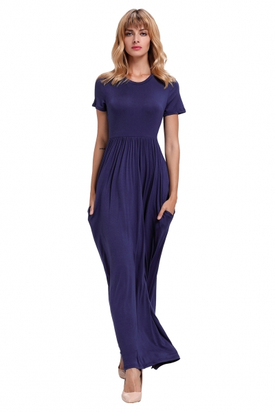 Navy Blue Short Sleeve Ruched Waist Maxi Dress zekela.com