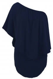 Plus Size Multiple Dressing Layered Dark Blue Mini Dress