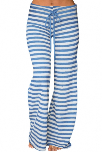Blue White Striped Wide Leg Pants