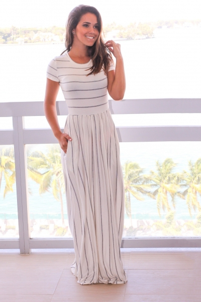 Grey Striped Ivory Short Sleeve Maxi Dress ZEKELA.com
