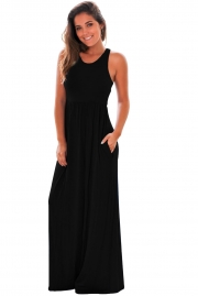 Black Racerback Maxi Dress with Pockets