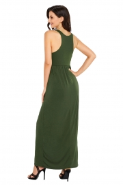 Green Racerback Maxi Dress with Pockets