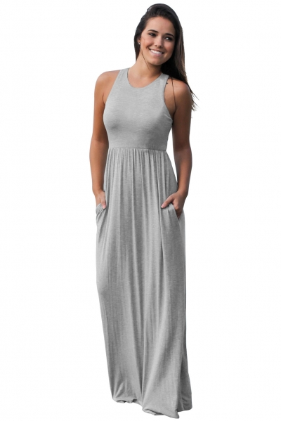 Grey Racerback Maxi Dress with Pockets ZEKELA.com